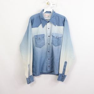 70s Wrangler Mens Large Pearl Snap Painted Shirt
